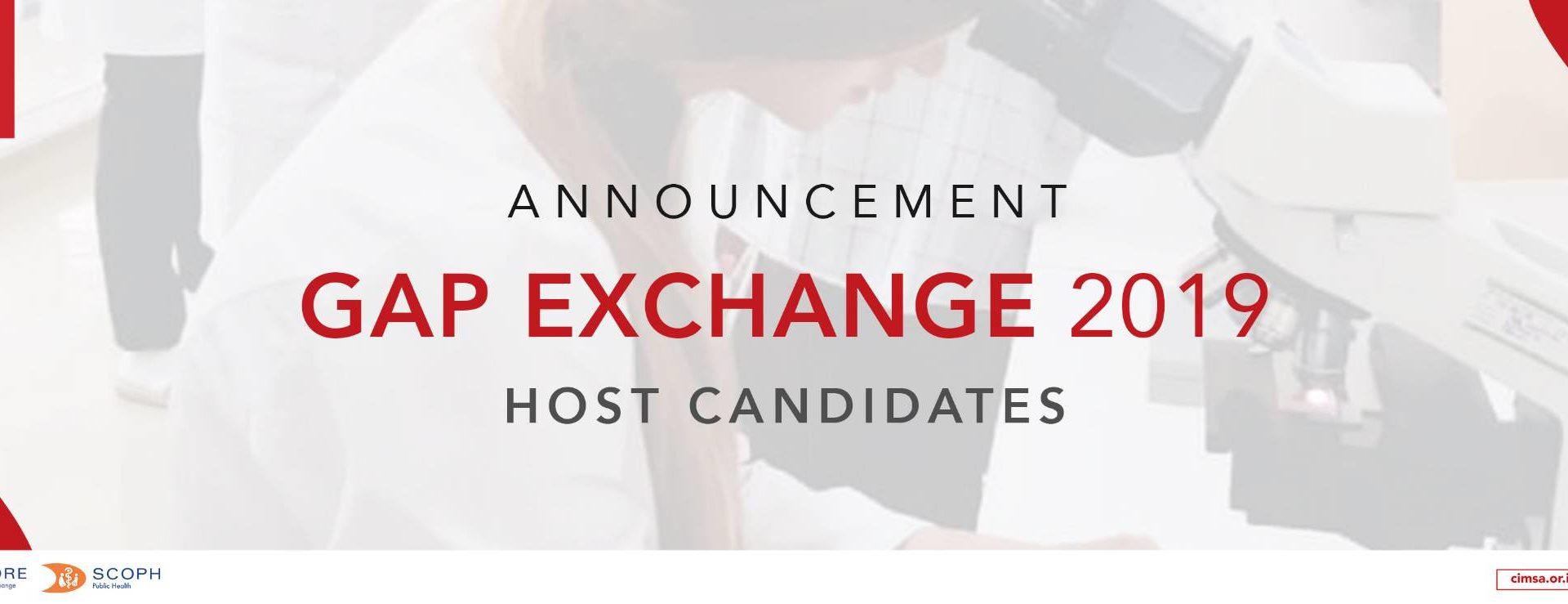 GAP Exchange 2019 Host Candidates