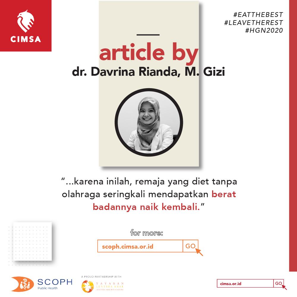 DIET REMAJA – by dr. Davrina Rianda, M. Gizi